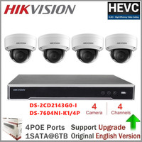 Hikvision Video Surveillance Kits 4mp IP camera DS 2CD2143G0 I H.265 POE IP67 Replace DS 2CD2142FWD I Security Camera