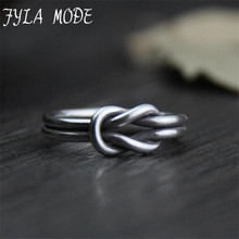 Original Creative Craft 999 Silver Jewelry Retro Simple Thai Love Knot Opening Female Ring