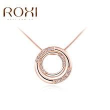 2017 ROXI Марка Классический Ожерелье для Женщин Двойной Круг Кулон Ожерелье Женщин Розовое Золото Цвет Цепи Ожерелье День матери подарок
