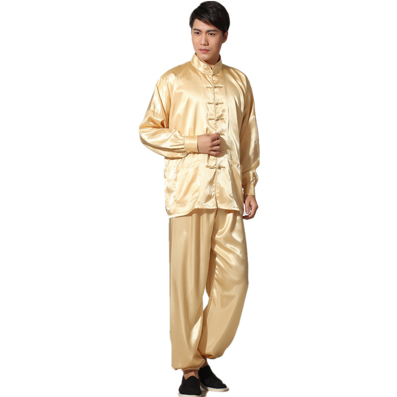 New Chinese Traditional Men's Satin Rayon Kung Fu Suit Vintage Long Sleeve Tai Chi Wushu Uniform Clothing M L XL XXL 3XL L070629