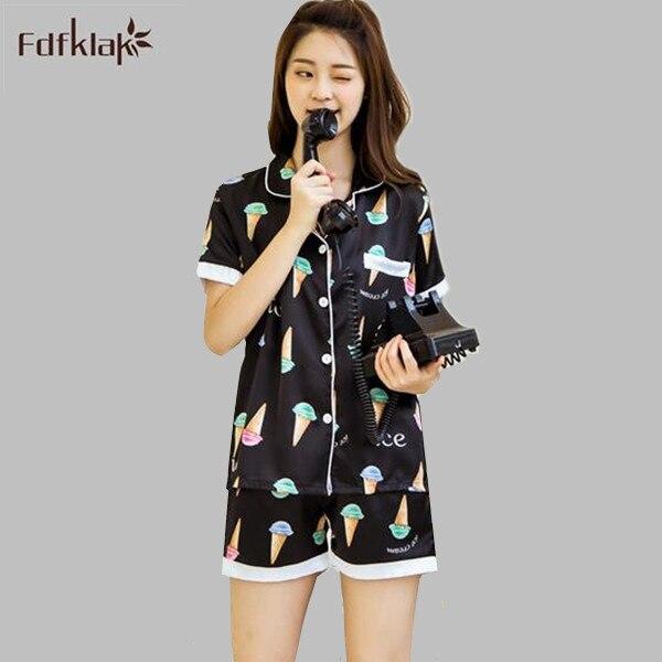 Summer pajamas set sleepwear shorts for women cartoon print cute girl s  pijamas black white silk satin pajamas A796 2a1132e9a