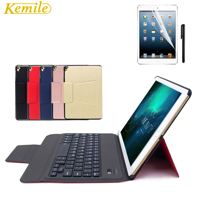 Kemile For New iPad 2017 Ultra Slim Bluetooth Keyboard Leather Case Cover For iPad Pro 9.7 &For iPad air1 & air2 with Hoder 2017 new leather case cover beautiful gift new 1pc for ipad pro 12 9inch ultra aluminum bluetooth keyboard with pu kxl0421