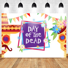 Day of The Dead Photography Backdrops Sugar Skull Marigold Colorful Flag Backdrop Mexico Halloween Celebration Party Banner