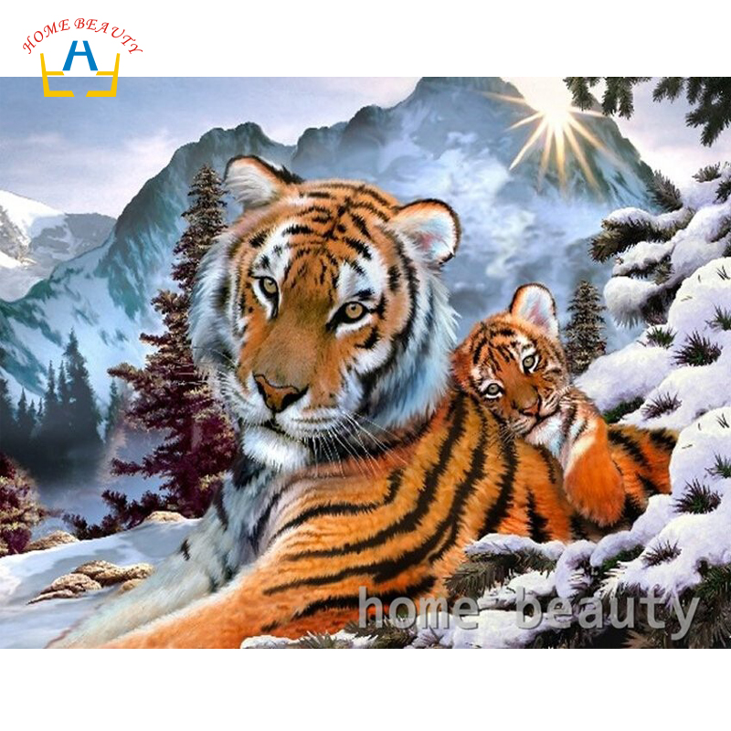 HOME BEAUTY diy digital paintings by numbers with acrylic paints crafts art gift snow tiger paintings for living room decor Y073