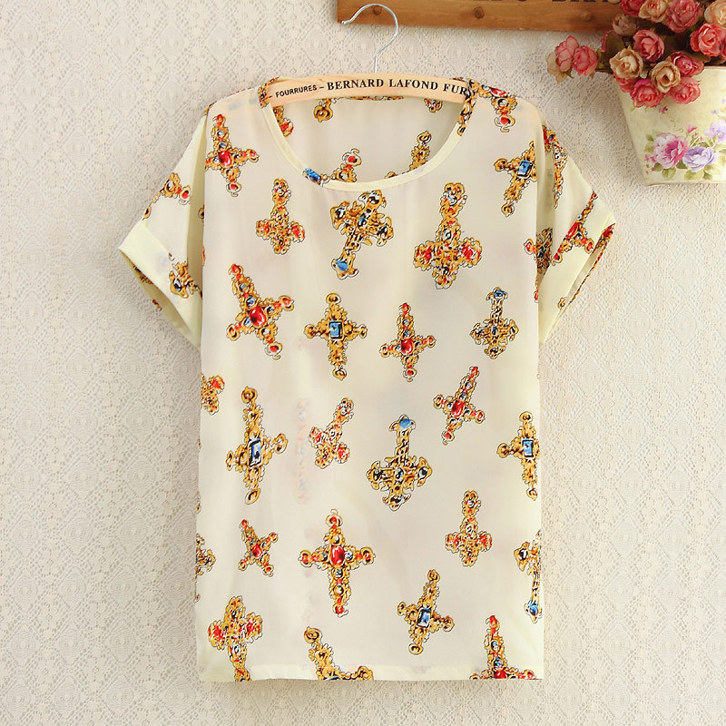 Printed Shirts Summer Tops Women Short Sleeve Love Black White Birds Dot Stripe O-neck Tops Plus Size Casual Shirts