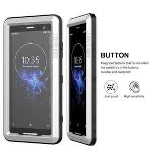 Image 4 - Sony Xperia için XZ3 telefon kılıfı ağır koruma zırh Metal sert ekran filmi temperli cam XZ 3 tam kapak silikon muhafazaları