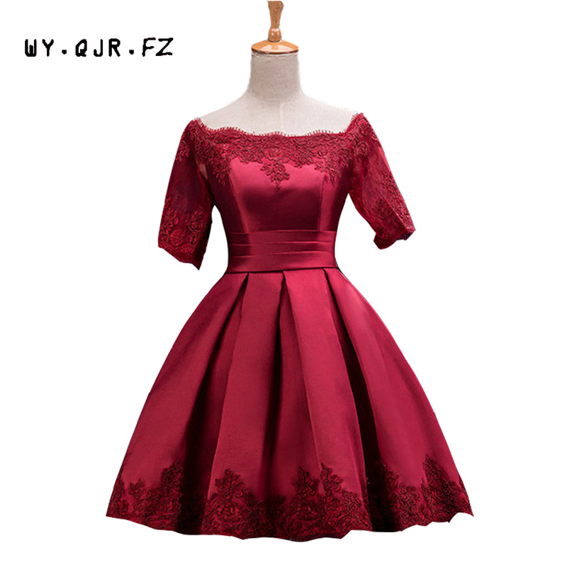 HJZY110#The New Plus Size Wine Red Prom Party Bride Toast Suit Off Shoulder Dress Short Bridesmaid Dresses 2019 Wholesale Cheap