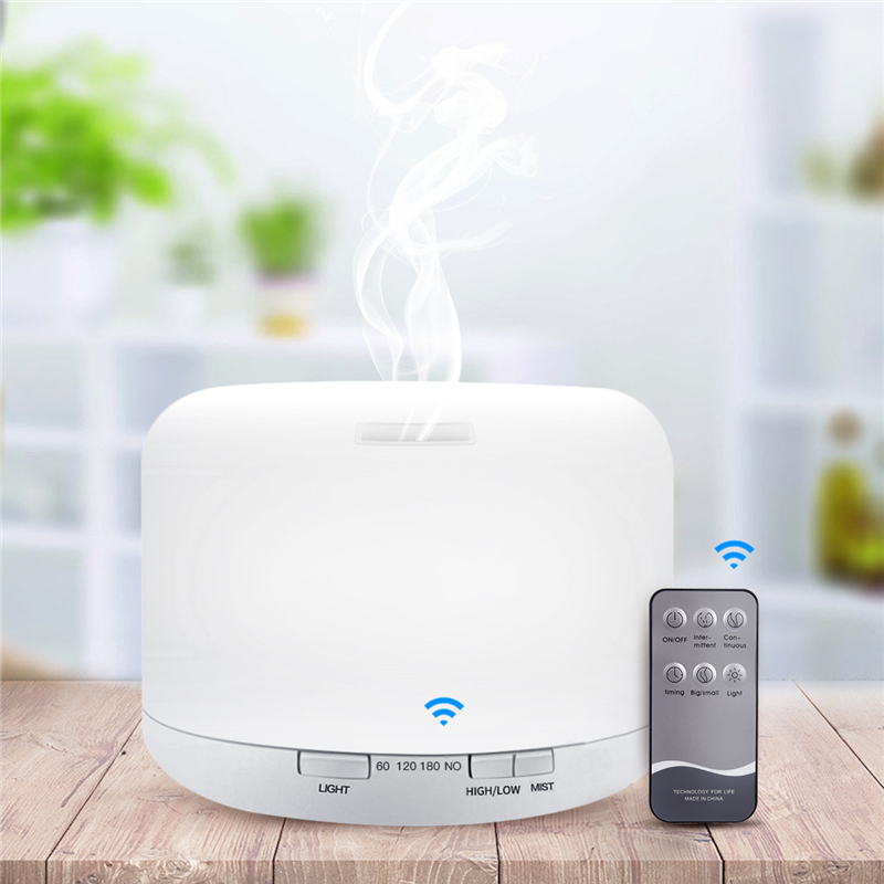 Aroma Essential Oil Diffuser Ultrasonic Air Humidifier 7 Color Changing LED Lights For Office Home 500ml Diffuser Remote control aroma oil diffuser ultrasonic humidifier remote control 10s 2h 4h timer 500ml tank lamp wood ultrasonic humidifiers for home