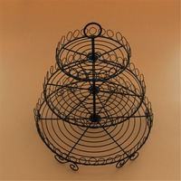 European Style 3 Tier Vintage Cake Stand Wrought Iron Metal Decorative Cupcake Cake Stand Christmas Wedding