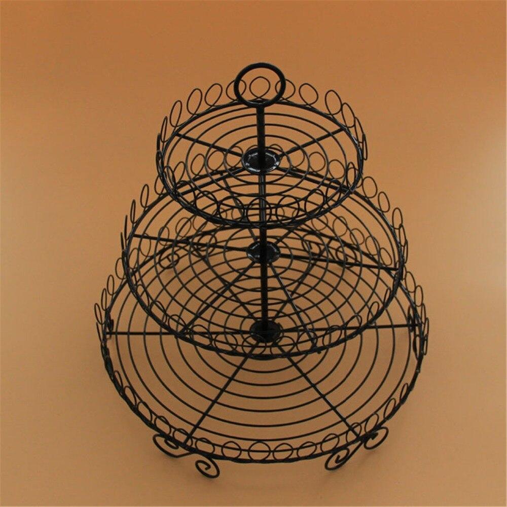 Support de gâteau vintage de style européen à 3 niveaux, support de gâteau décoratif en métal en fer forgé, support de fruits de fête de mariage de noël