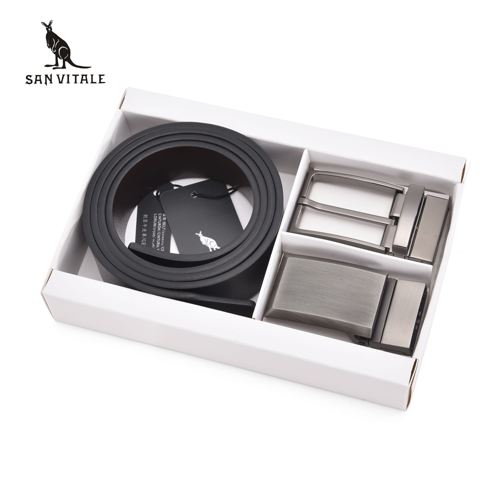 SAN VITALE Men Belt Luxury Famous Designer Brand High Quality Genuine Leather Strap Two Buckles Belts Set Ceinture Homme Giftbox