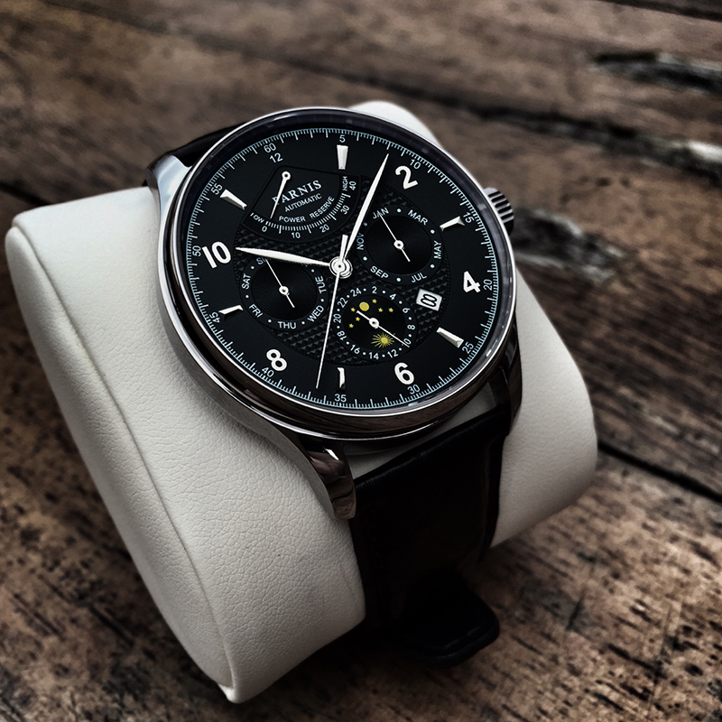 Parnis 42mm Black Dial Mechanical Mens Watches Leather Miyota 9100 Moon Phase Automatic Mens Watch Man Clock jam tangan priaParnis 42mm Black Dial Mechanical Mens Watches Leather Miyota 9100 Moon Phase Automatic Mens Watch Man Clock jam tangan pria