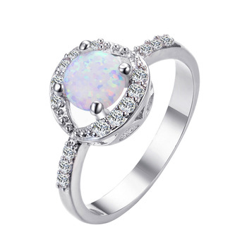 New Simple circular White Hot Fire Opal Rings Sliver Jewelry For Women Wedding Gift Drop Shipping Jewelry