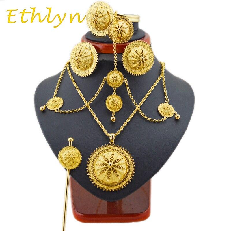 Ethlyn grande clásico etíope joyería conjuntos oro color Joyería y joyería  Africana etíope mejor mujeres regalos S22A e70f87453f1