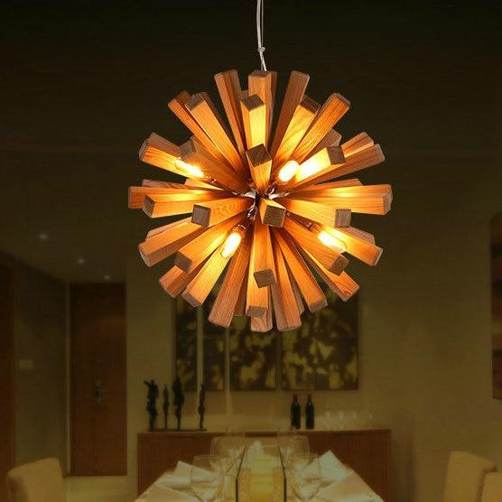 Lamparas LED lustres araña de madera de techo para sala casa ...
