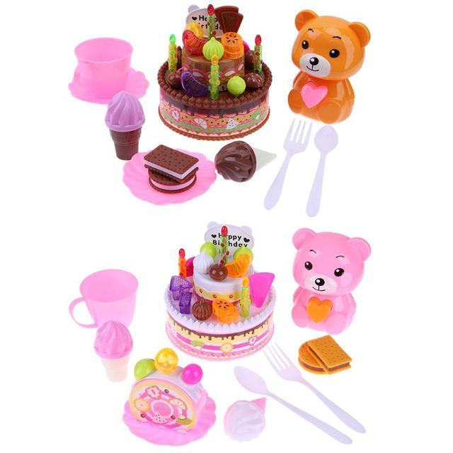 Kunststoff Geburtstagstorte Baby Pretend Play Schneiden Spielzeug
