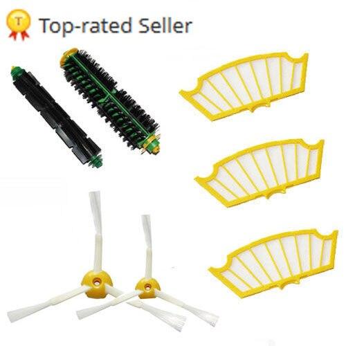 Bristle Brush Flexible Beater Brush 3 arm side brush filter for  Roomba 500 600