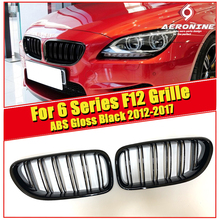 F12 Grill Auto Car Front Bumper Grille For BMW 6 Series 640i 650i Double 2 Line Slats ABS Gloss Black M6 Kidney Grille 2012-2017 for 02 05 dodge ram black sport billet front hood bumper grill grille frame abs usa domestic free shipping hot selling