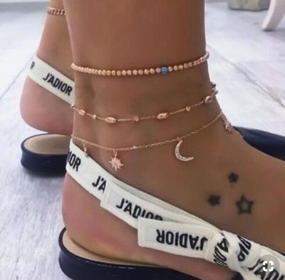 New Boho Multilayer Shell Beads Anklets For Women Moon Sun Vintage Beach Rope Ankle Bracelet on Leg Summer Foot Jewelry
