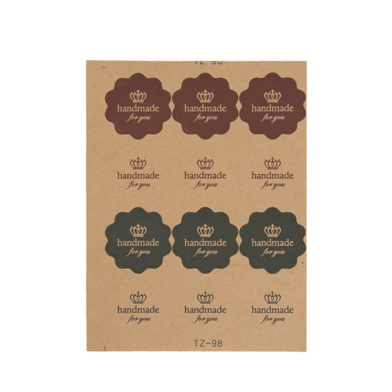 120pcs Vintage Flower Round Wave Kraft Paper Sticker For Handmade Products Gift Easy To Use