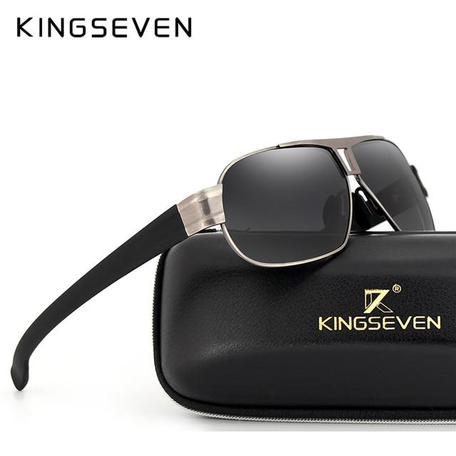 KINGSEVEN Brand Men's Sunglasses Alloy Polarized Lens Vintage Eyewear Accessories Sun Glasses For Men UV 400 N7516