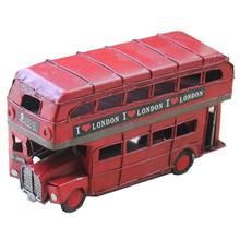 Vintage Bus Retro London Figurine Miniatures Double-layer Red Handmade Iron Car Model Craft Kids Toy Christmas Gift Present
