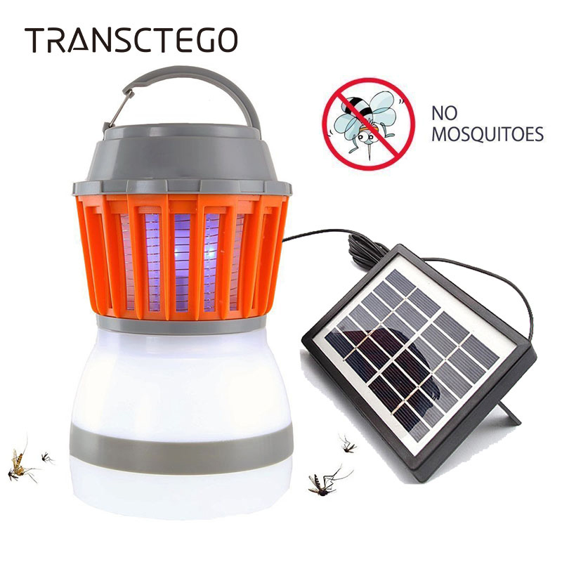 Solar Mosquito Killer Lamp Outdoor Bug Zapper Trap Camping Lantern 2in1 Portable USB Anti Mosquito Fly Insect Killer Tent Light