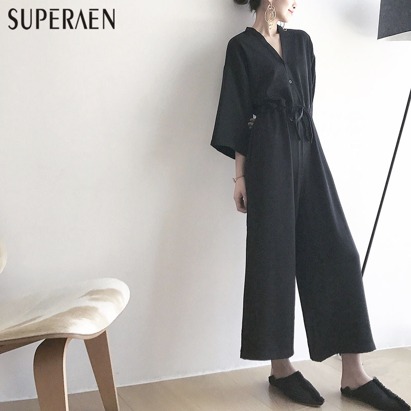 2017 Spring Summer Black Casual   Jumpsuit   Siamese Pants Loose Women V Neck Nine Sleeves   Jumpsuit   Women