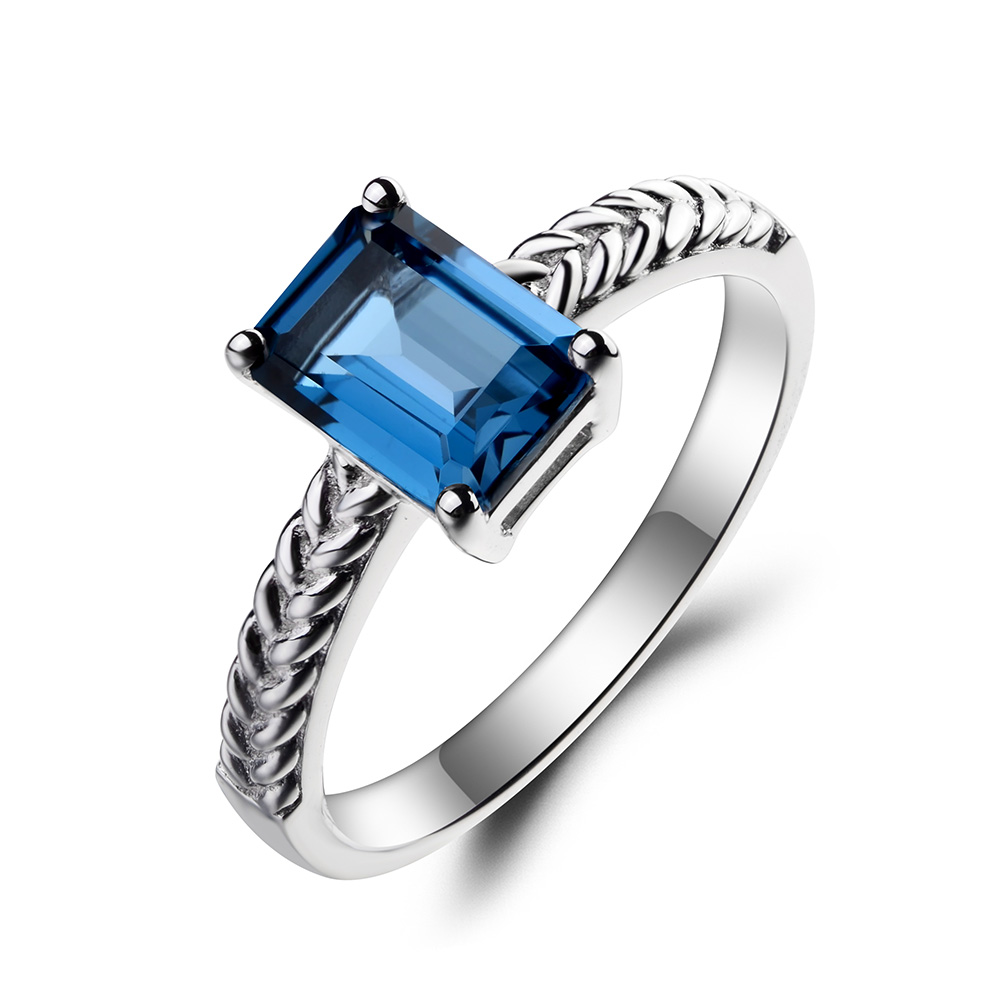 leige jewelry topaz wedding ring london blue topaz ring november birthstone emerald cut blue gems 925 sterling silver ring gifts in rings from jewelry - Topaz Wedding Ring