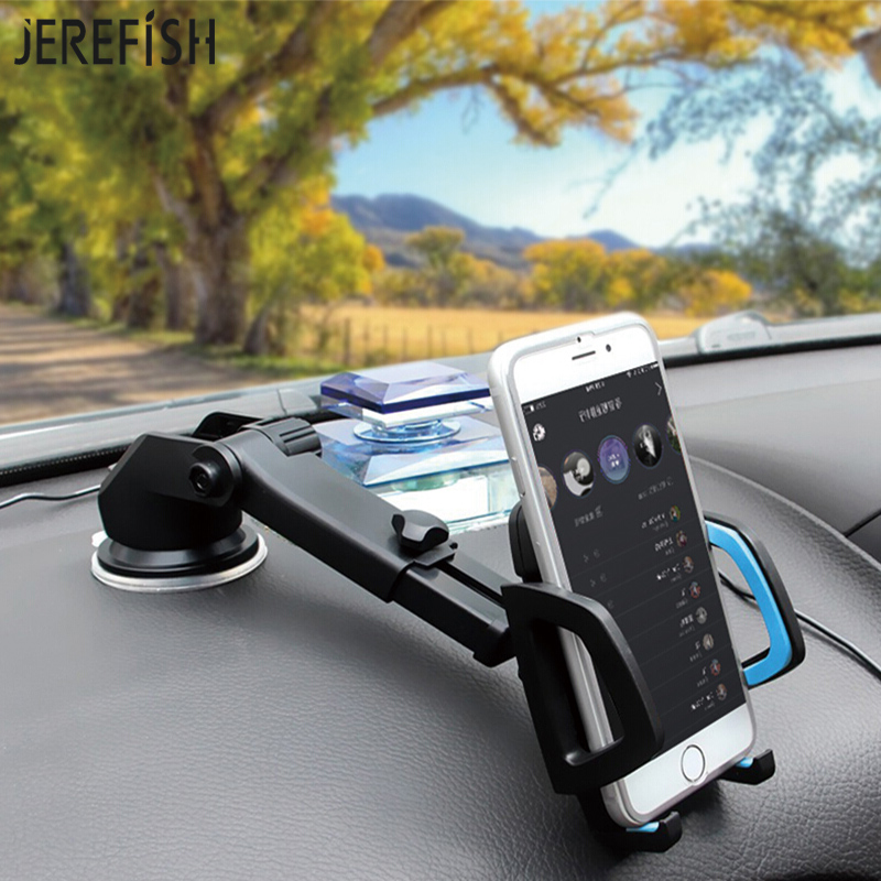 JEREFISH Long Neck Arm Car Mobile Phone Holder Stand Cradle Dock For Universal Phones Holder Windshield 360 Rotate Dashboard