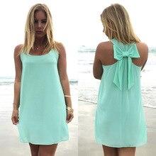Summer dress 2018 women female summer style bow vestido de festa sundress plus size clothing beach chiffon