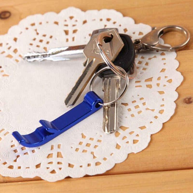 Nuevo diseño 1 piezas Mini bolsillo clave cadena cerveza botella abridor garra Bar pequeño bebidas llavero anillo Color al azar