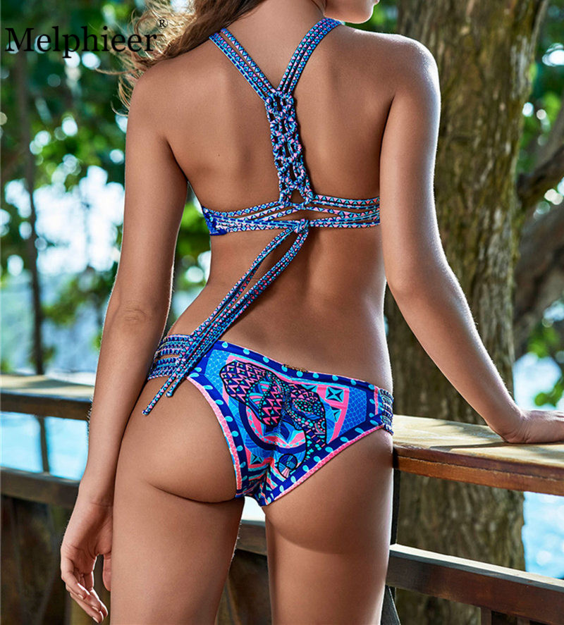 Melphieer High Neck Tank Crop Top Bikini Crochet Bikinis Set Swimwear Women Swimsuit Female Beachwear 2018 Monokini Bathing Suit