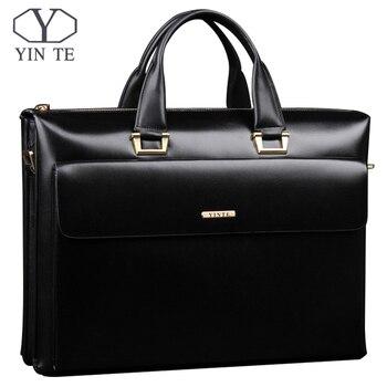 Мужской портфель YINTE, черная деловая сумка-мессенджер высокого качества, сумка для ноутбука 14 дюймов, портфель для мужчин, T8182-3