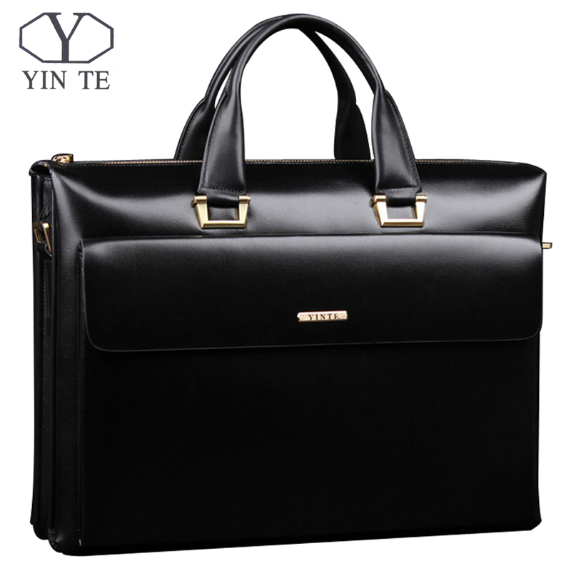 YINTE Leather Men's Briefcase Business Men Black Handbag High Quality Messenger 14inch Laptop Bag Men's Totes Portfolio T8182-3 image