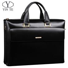 YINTE Leather Men's Briefcase Business Men Black Handbag High Quality Messenger