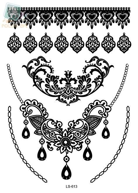 LS611e/New 2015 A5 sheet white temporary metallic lace bracelet ankle design tattoo sticker