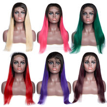 "ALIBELE 18"" Ombre Straight Human Hair Wig For Black Women 613 Blonde Pink Green Blue Red Purple 4x4 Lace Front Cosplay Wig 150%(China)"