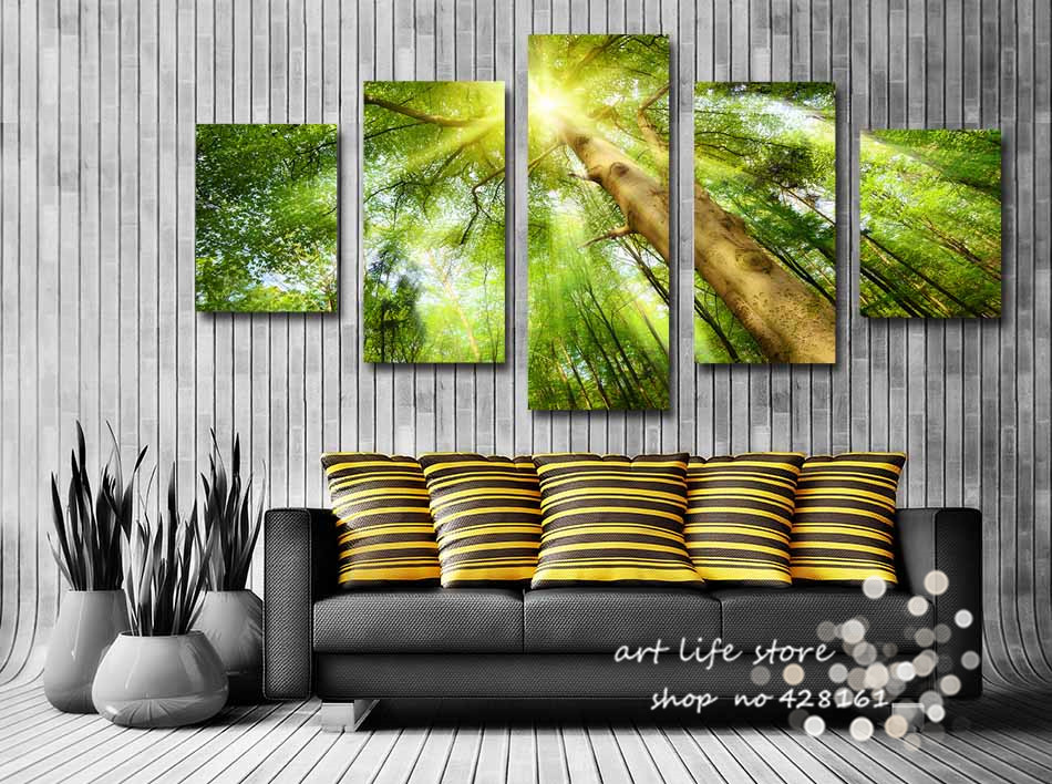 Standard Size Home Decor Wall Art Pictures Canvas Painting A Big Tree So Beautiful More Sunshine