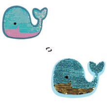 ShinEquin 135mm Cartoon whale AB flip the double sided Patches for clothing Reversible change color sequins Patch T-shirt Girl