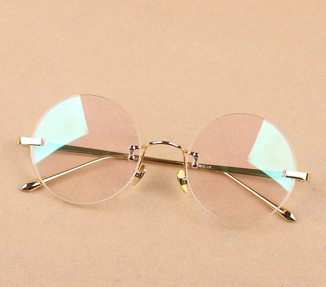 Óculos sem aro Do Vintage Moda Moldura Redonda para Leitura Visão Masculino  Óculos Femininos Quadro Miopia 9c5f65b99c