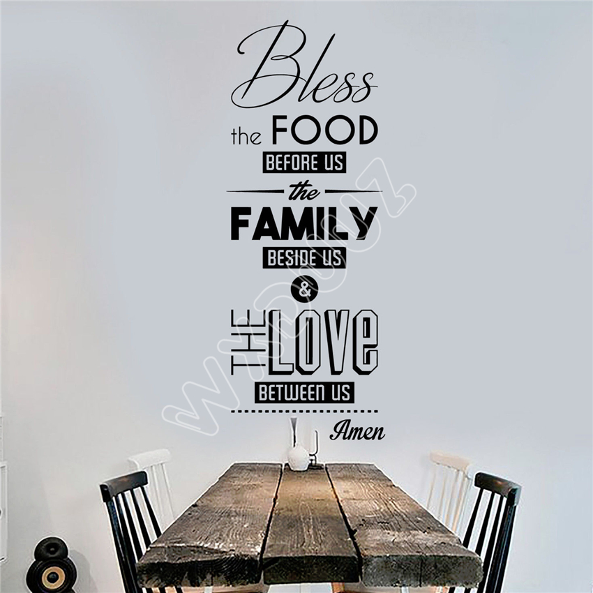 WXDUUZ Vinyl Wall Decal Bless the Food Prayer Dining Room Kitchen Stickers Mural Wall Decor Wall Sticker Home Decor B150