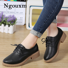 8f2954e130d3c3 Ngouxm Women Flats Leather Shoes Platform Derby Woman Autumn High Quality Lace  Up Women s Casual Oxfords