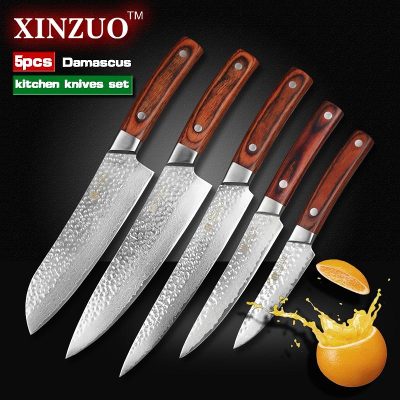 XINZUO 5 pcs Kitchen font b knives b font set Japanese Damascus kitchen font b knife