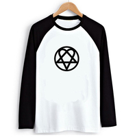 Loose Style Rock Music Punk Hipster HIM Icon Women PVC Letter Print T Shirt Female Raglan