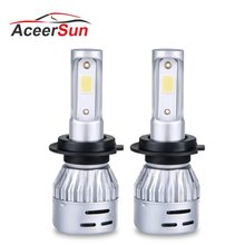 1 pcs LED H4 H7 H11 9005 9006 9012 H7 LED Car Headlight Bulb 8000LM MINI 12V 72W 50000h 4300k 6500k COB Hight Low beam Fog light(China)