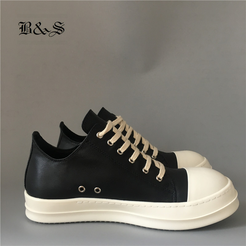 Black& Street Lace Up Rock Genuine Leather Flat Sole Quality Owen Cow Leather Ankle Shoes Platform Trainer Shoes