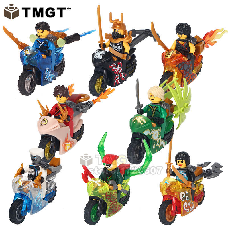 TMGT Building Blocks 10Lots of Ninja Kai Jay Zane Cole Lloyd Carmadon With Tornado Crystal Motorcycle