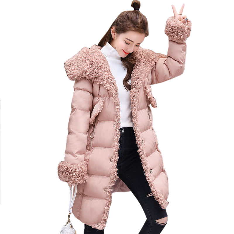 Hooded lamb hair Single breasted Womens Coat Winter New Warm Long Cotton Parkas 2017 Casual Straight Female cashmere Jacket X262