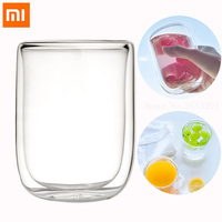 Xiaomi Mijia17PIN Glass Double layer Cup Borosilicate Glass 400mL Household Layer Heat Resistant Office Large Flow Wine Cup 2pcs